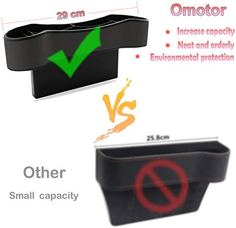 omotor Car Seat Gap Filler,Seat Console Organizer Pocket with Cup Holder,for Wallet Cellphone Coins Keys Cards Drink Cups Candy Glasses Holder Box 2 Pack,Black