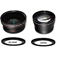 40.5MM 37MM 2.2x Telephoto and 0.43x Wide Angle w/ Macro Close-Up Attachment Conversion Lenses for Sony Alpha a6300, a6000, a5000, a5100, NEX 5T, NEX-5TL Mirrorless Digital Camera with 16-50mm Lens