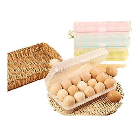 MagicMen Eggs Dispenser, Plastic Egg Refrigerator Storage Box Eggs Holder for 15 Eggs Box kitchen Supplies (Blue)