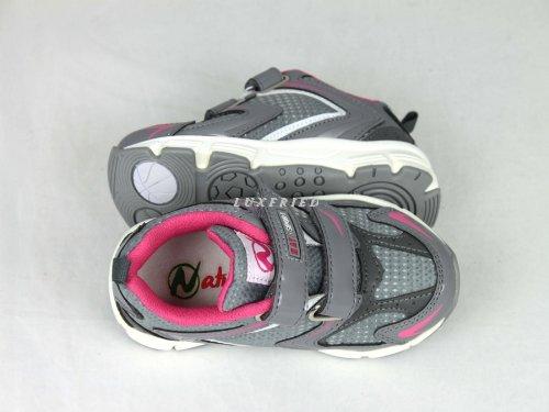 NATURINO Kinderschuhe Mädchen Schuhe Halbschuhe Klett Sneaker Shoe 233 Grau-Pink