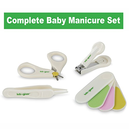 Baby Nail Clipper Set By Lebogner - Complete 4 Piece Grooming Kit for Any Child Age Includes Nail Clipper, Scissor, Filer and Nasal Tweezer, Newborn or Infant Manicure Set by lebogner