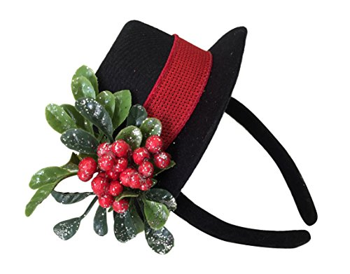 Mini Top Hat With Mistletoe (Girls Snowman Top Hat Headband Costume Dress-up Hair Accessories, Pack of 2)