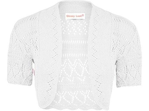 Glossy Look Big Girls' Crochet Bolero Short Sleeve Shrug Knitted Cardigan 13 Years White