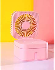 Personal Portable Small Fans, Mini USB Fan with Cool Humidifier, Desk Stroller Table Fan, Misting Fan with Nightlight, Cooling Folding Fan for Bed, Car, Office, Camping, Pink 2, One Size