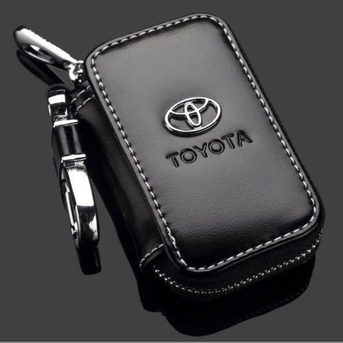T-KB Toyota Black Premium Leather Car Key Chain Coin Holder Zipper Case Remote Wallet Bag