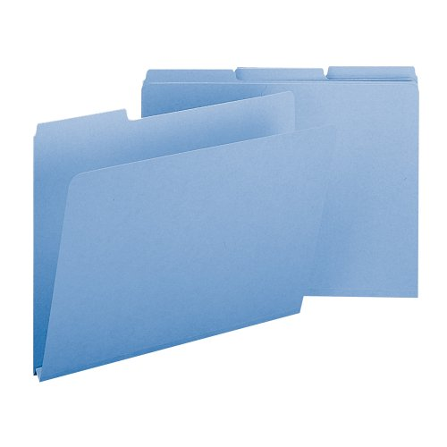 "Smead Pressboard File Folder, 1/3-Cut Tab, 1"" Expansion, Letter Size, Blue, 25 per Box (21530)"