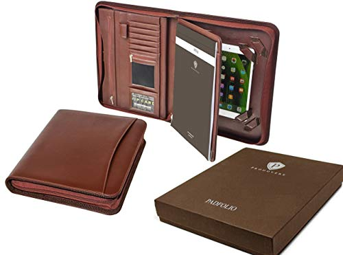 (Professional Executive Business Resume Portfolio Padfolio Organizer PU Leather iPad & iPad mini ready for use - Tablet Sleeve, Zipper, Paper Pad, Business Card and Pen Holders, Document Folder - Brown )