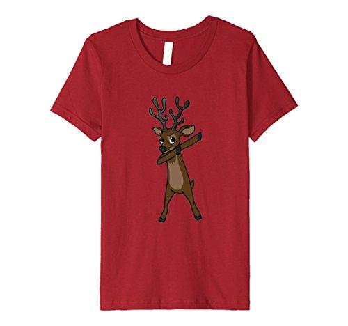 Kids Funny Elk T Shirt Christmas Gift Elk Dabbing Dab Dance 10 Cranberry - Dancing Elk