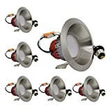 ESD Tech 6 Pack of 4'' Inch LED Dimmable Recessed Downlight Trim, Brushed Nickel Round Smooth Retrofit, 2700K, 650 Lm, 9W, 120V, Energy Star, ETL Listed, Indoor/Outdoor Rated