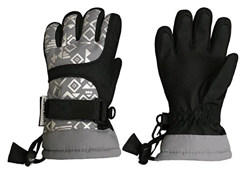 Child Grey Gloves (N'Ice Caps Kids Scroll Print Waterproof Thinsulate Insulated Winter Snow Gloves (5-6yrs, Black/Grey/Silver))