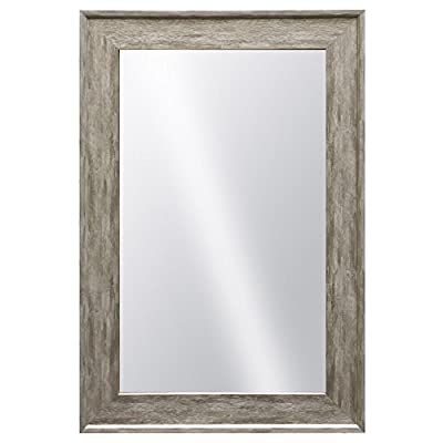 "Raphael Rozen - Elegant - Modern - Classic - Vintage - Rustic - Hanging Framed Wall Mounted Mirror, Distressed Wood Like Finish, Gray - White Color ""2 3/4"" Inch Frame"