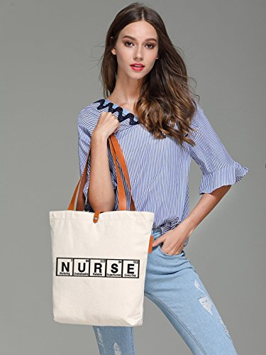 So'each Women's Nurse Letters Graphic Top Handle Canvas Tote Shoulder Bag