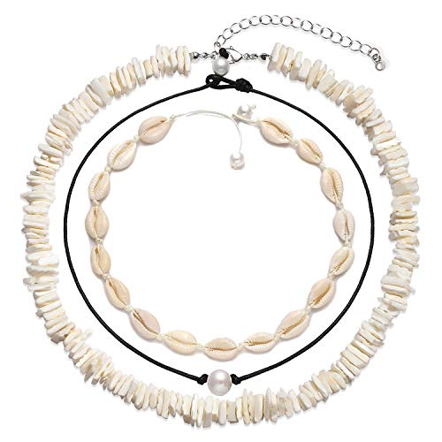 XOCARTIGE Cowrie Shell Choker Necklace for Women Hawaiian Seashell Pearls Choker Necklace Set Adjustable Cord Necklace Summer Beach Jewelry Set (M 3PC Choker Set)