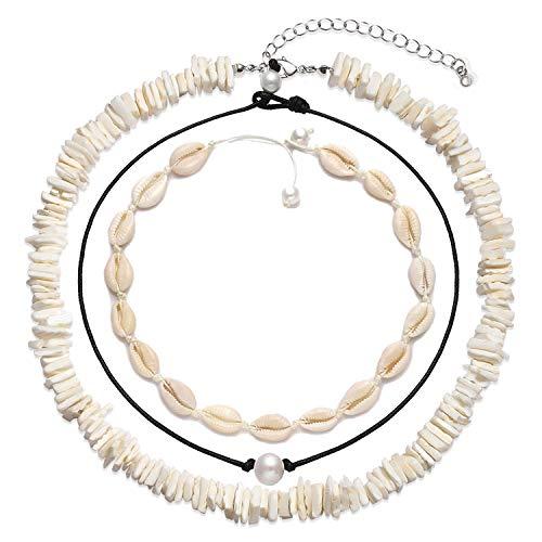 - XOCARTIGE Cowrie Shell Choker Necklace for Women Hawaiian Seashell Pearls Choker Necklace Set Adjustable Cord Necklace Summer Beach Jewelry Set (M 3PC Choker Set)