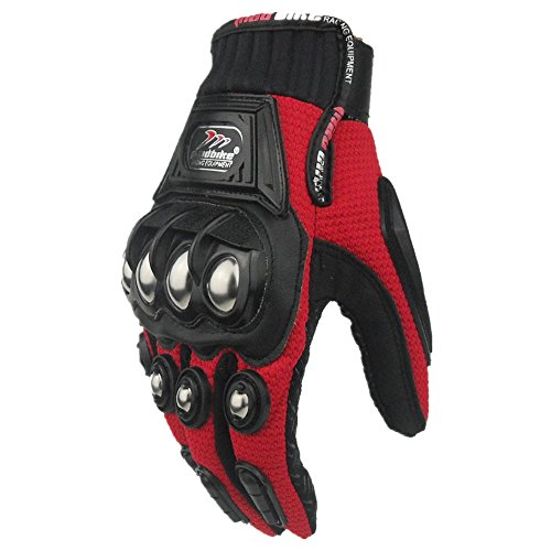 ILM Alloy Steel Bicycle Motorcycle Motorbike Powersports Racing Gloves (L, RED)