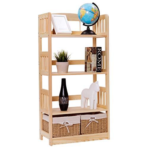 Giantex 4-Tier Bookcase Multipurpose Storage Rack Open Shelf with 2 Woven Storage Baskets Wood Kitchen Bathroom Garage Dormitory Storage Organizer Display Shelf