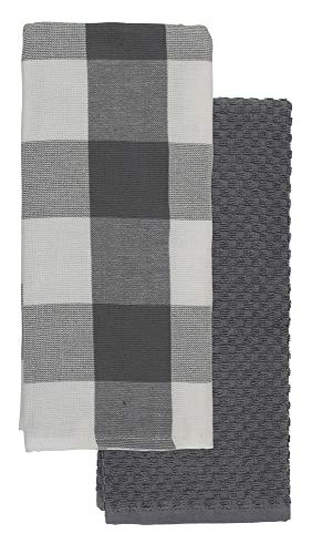 (Buffalo Check Kitchen Towel Grey Set of 2 Cotton 26