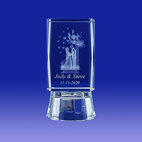 12 pcs Personalized Custom Laser Etched Engraving 3D Bride & Groom Crystal Glass Cube for Wedding Ideas & Gifts Favors Bridal Showers - Cubes Crystal 3-d