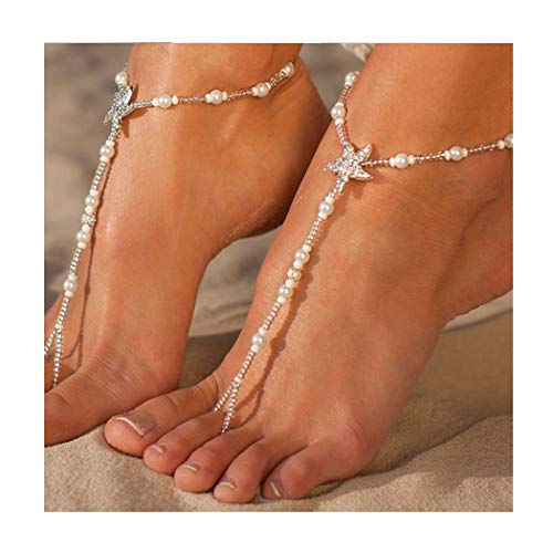 Barogirl Beaded Anklet Sandals Barefoot Turquoise Ankle Bracelet Boho Wedding Anklets Toe Ring,2 Pcs (Style D - Starfish)