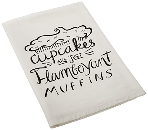 Primitives by Kathy LOL Made You Smile Dish Towel, 28-Inch by 28-Inch, Cupcakes are