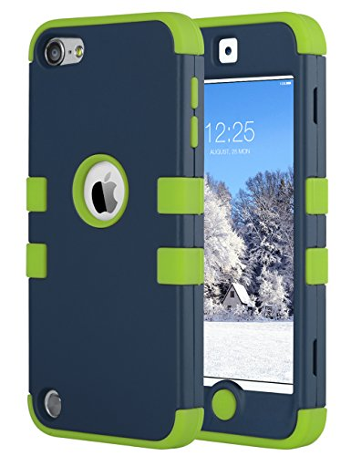 (ULAK Case for iPod Touch 6 & 5th Generation,Anti Slip Anti-Scratch iPod Touch 5 6 Case Shockproof Protective Cover with Hybrid High Soft Silicone + Hard PC Case (Green))