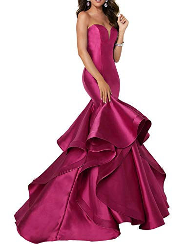 Scarisee Women's Sweetheart Mermaid Prom Evening Dresses Tiered Formal Celebrity Party Gowns Sweep Train Rose 02