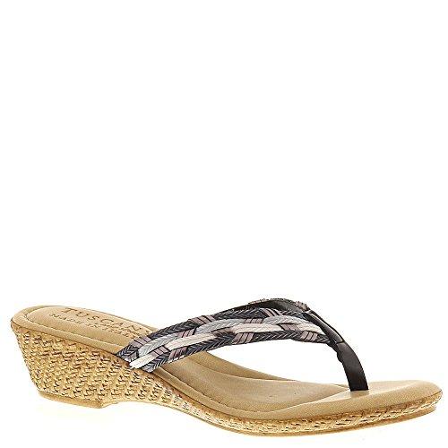Easy Street Women's Prato Wedge Sandal Black Multi 11 W US