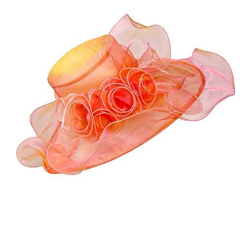 Genuva Women's Organza UV-Anti Church Derby Hat Fascinator Tea Party Wedding Hat Ruffles Wide Brim Bridal Cap (Style 7 - Pink)