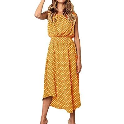 STORTO Womens Dots Boho Mini Dress Lady Beach Summer Sundress Maxi Dress