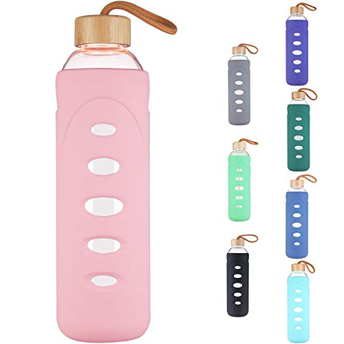 DEARRAY Sport Borosilicate Glass Water Bottle with Protective Silicone Sleeve and Unique Bamboo Lid 14oz Pink