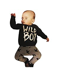 Susenstone Toddler Infant Baby Boys Letter Print T-shirt Tops+Pants Outfits Clothes