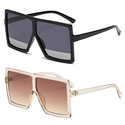GRFISIA Square Oversized Sunglasses for Women Men Flat Top Fashion Shades (2PCS-clear orange- silver, ()