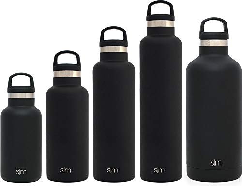 Simple Modern 32oz Ascent Water Bottle - Stainless Steel Hydro Swell Flask w/Handle Lid - Metal Double Wall Vacuum Insulated Black Reusable Tumbler Aluminum 1 Liter Cold Leak Proof - Midnight Black -  ASC-32-MB