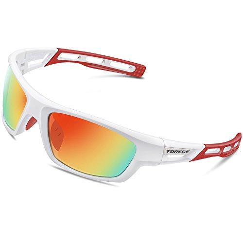 Torege Polarized Sports Sunglasses for Men Women Cycling Running Driving Fishing Golf Baseball Glasses EMS-TR90 Unbreakable Frame TR007 (White&Red&Red - Red White Baseball Sunglasses And