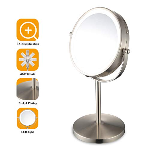 Lighted Makeup Mirror - 5X Magnifying Nickel Plating LED Light Mirror Vanity Cosmetic Double-sided Mirror Portable for home Travel