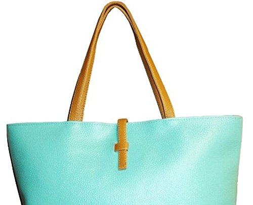 Women's Multi-color Korean Style Fashionable Tote Bags with PU Leather-Turquoise