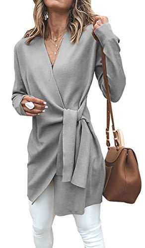 cou Unie Femme Manches Casual Ceinture Outwear De Couleur Avec Laine Manteau Longues Gris Vestes Blackmyth V vw7BAw