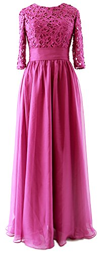 Evening Bride Lace Gown Mother Long MACloth Vintage Fuchsia Dress Sleeve of Party Half qwzvRY