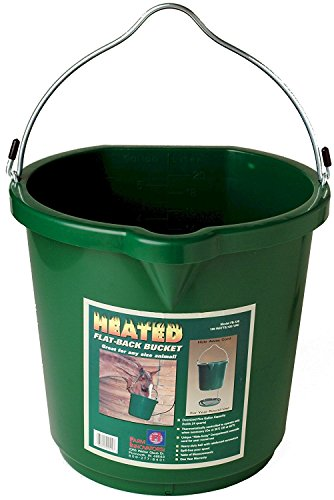 Buckets Heated Horse (Heated 5 Gallon Flat Back 20 Qt Horse Water Bucket. Hide Away Compartment to Store 6' Long Cord. Year round Use)