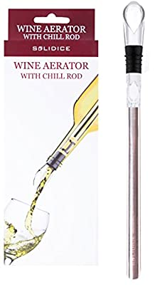 Wine Aerator with Chill Rod - Decanter and Cooler Stick by SOLIDICE - 3-in-1 Premium Wine Accessories Gift Set with Wine Decanter, Wine Pourer and Stopper plus Stainless Steel Chiller Stick
