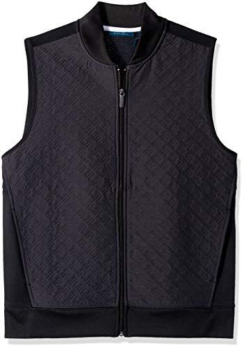 Perry Ellis Men's Quilted Zip-Front Vest, Black/DFK, Medium
