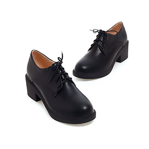 AmoonyFashion Womens Soft Material Round Closed Toe Kitten-Heels Pumps-Shoes with Knot Black 62D59o55hu