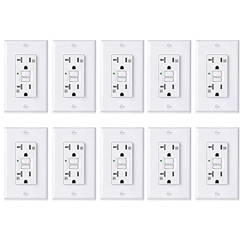 [10 Pack] BESTTEN 20A GFCI Outlets, USG5 Series, Weather-Resistant (WR), Tamper-Resistant (TR), Slim Self-Test Outdoor GFI Receptacles with LED Indicator, Decor Wall Plates Included, UL Listed, - Install Outlet 20a