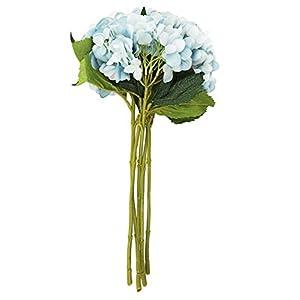 EZFLOWERY 5 Pcs Artificial Silk Hydrangeas Flowers Bouquet Arrangement, for Home Decor, Wedding, Office, Room, Hotel, Event, Party Decoration (Soft Blue) 45
