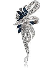 Kemstone Sapphire Crystal Flower Brooch Pin Silver Plated Women's Jewelry