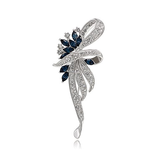 Kemstone Sapphire Crystal Flower Brooch Pin Silver Plated Women's Jewelry (Crystals Flower Brooch Sapphire)