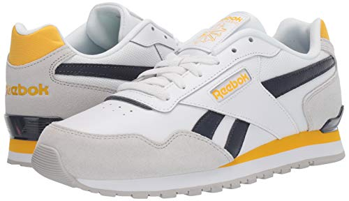 Reebok Men's Classic Harman Run Shoe, White/Skull Grey/Heritage Navy, 5 M US