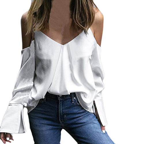 Shiny Black White Horn - Clearance Women Tops LuluZanm Autumn Long Sleeves Tops Loose Blouse Fashion Women Camisole Pure Color V-Neck Horn T-Shirt