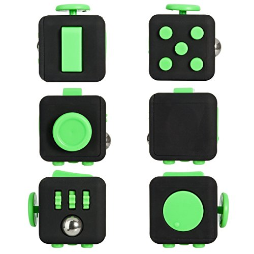 Omicu Fidget Cube Relieves Stress And Anxiety for Children and Adults Anxiety Attention Toy (black green) -