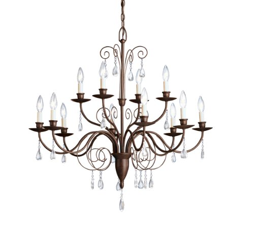 Kichler  1633TZ Barcelona 12-Light Chandelier, Tannery Bronze with Clear Glass Teardrops Barcelona 12 Light Chandelier